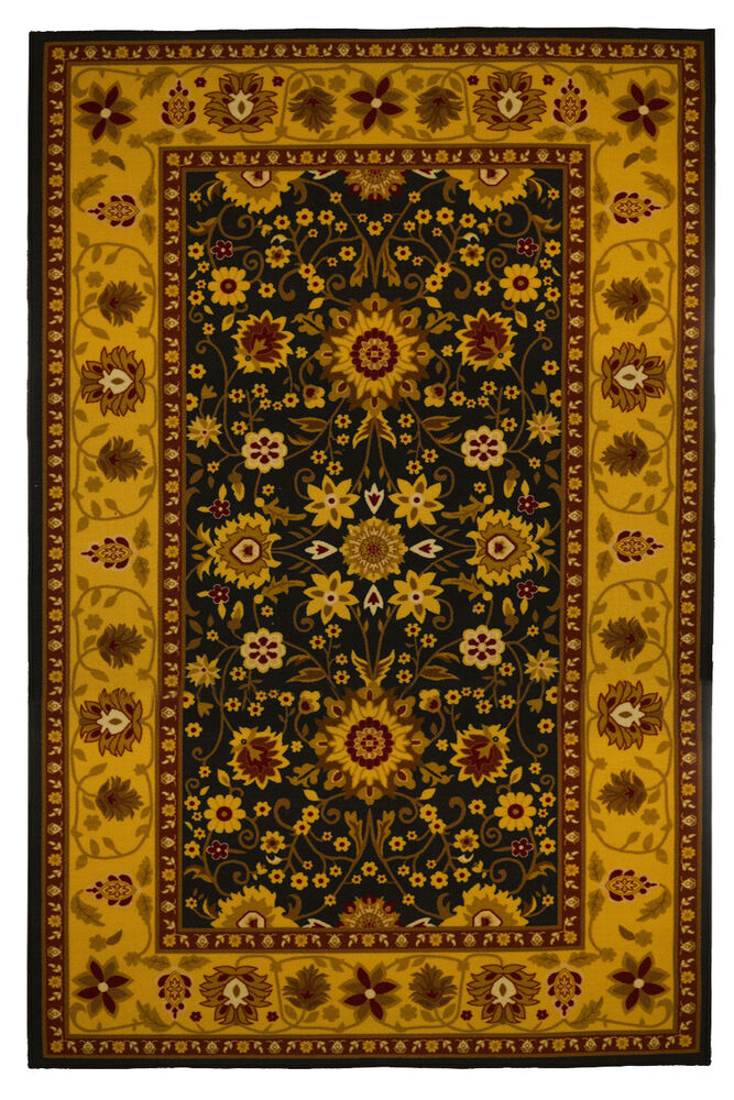 new traditional oriental area rug 5x8 gold black carpet