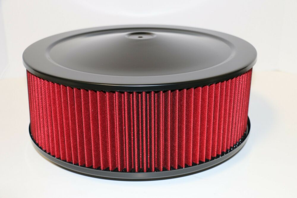 Drop Base Air Cleaner : Quot round black washable red air cleaner assembly
