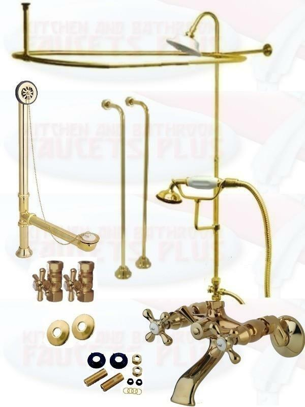 Polished Brass Clawfoot Tub Faucet Kit W Shower Riser