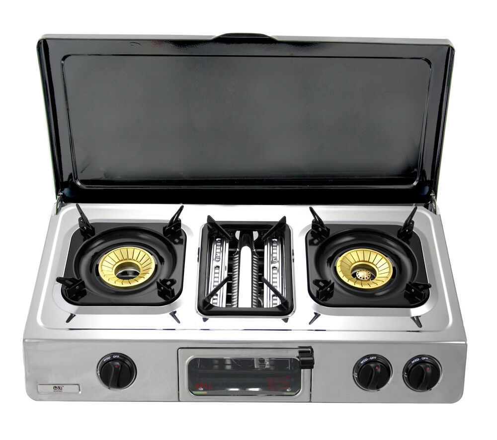 Gas Stove With Grill ~ Gas stove grill with lid burner portable camping caravan