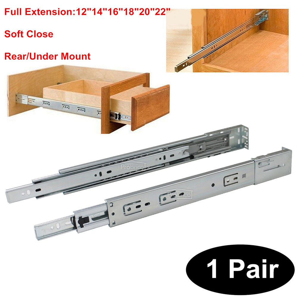 Pair 12 22 Quot Soft Close Drawer Slides Runners Rear Under