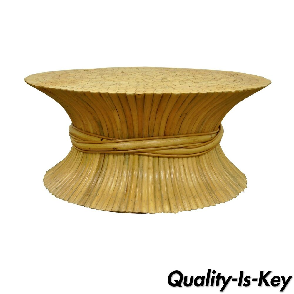 Chic Rattan Coffee Table: Vintage McGuire Style Hollywood Regency Wheat Sheaf Bamboo