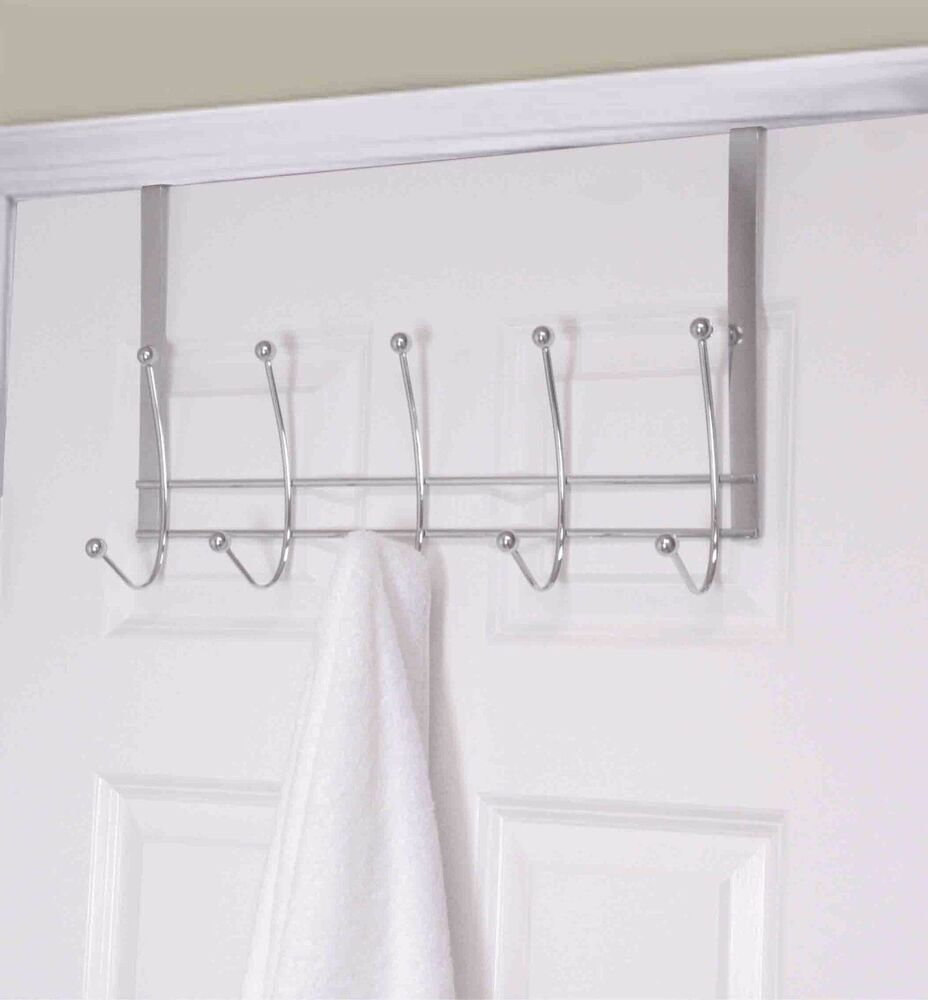 Home Basics New Over The Door 5 Hooks Silver Chrome Flat