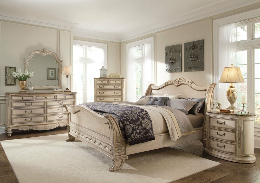 Grande Palace 5pc Traditional Antique White Queen King Sleigh Marble Bedroom Set Ebay