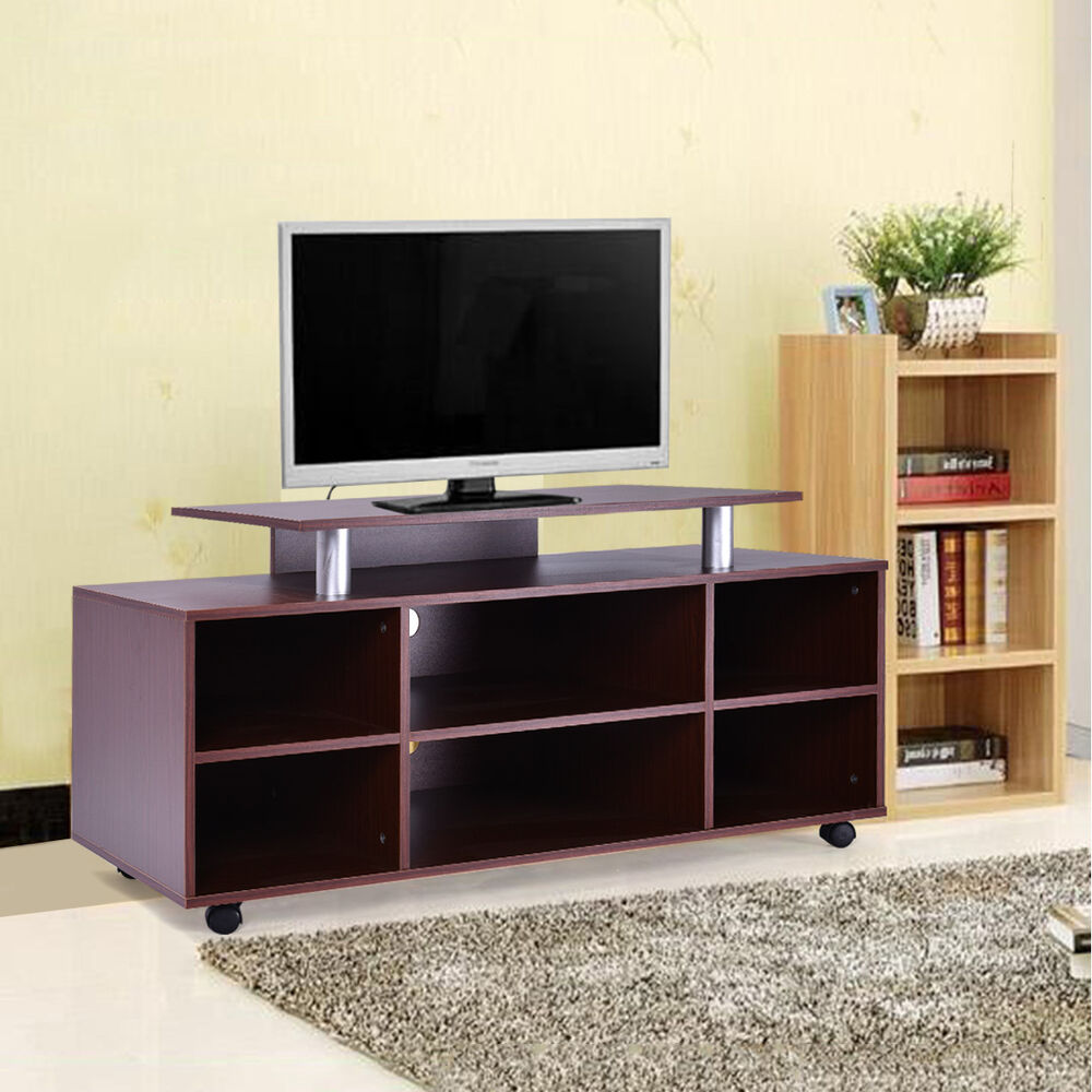 Wheeled tv stand entertainment center media console for Tv media storage cabinet
