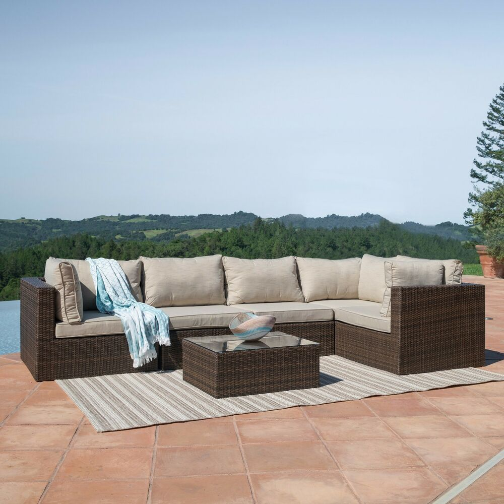 Outdoor patio 6pc sectional furniture pe wicker rattan for Wicker patio furniture