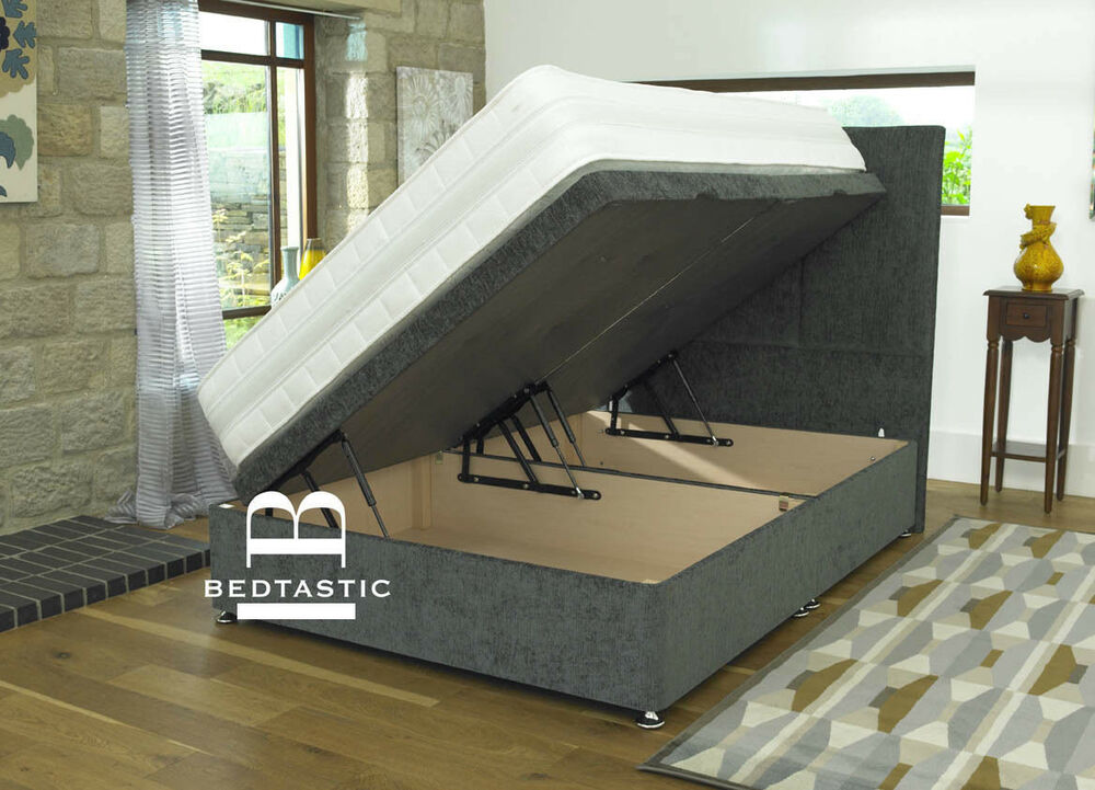 Divan Ottoman Side Lift Storage Bed Single 4 39 6 Double 5ft King Size Amazing Ebay