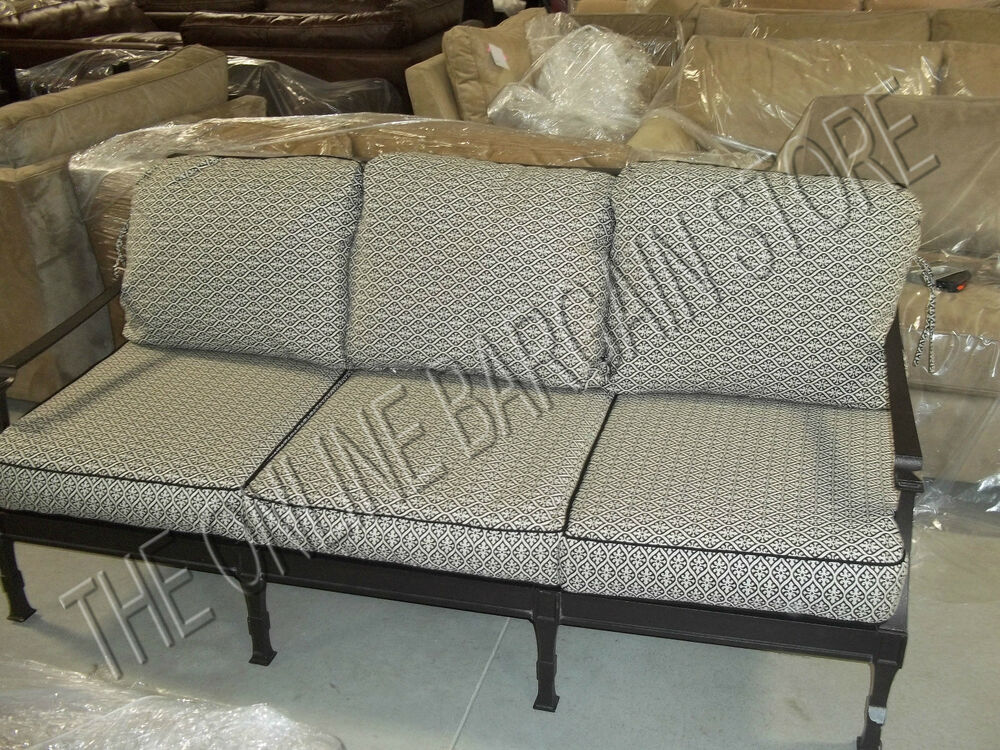 frontgate carlisle outdoor sofa cushions replacement chair michelle onyx black ebay. Black Bedroom Furniture Sets. Home Design Ideas