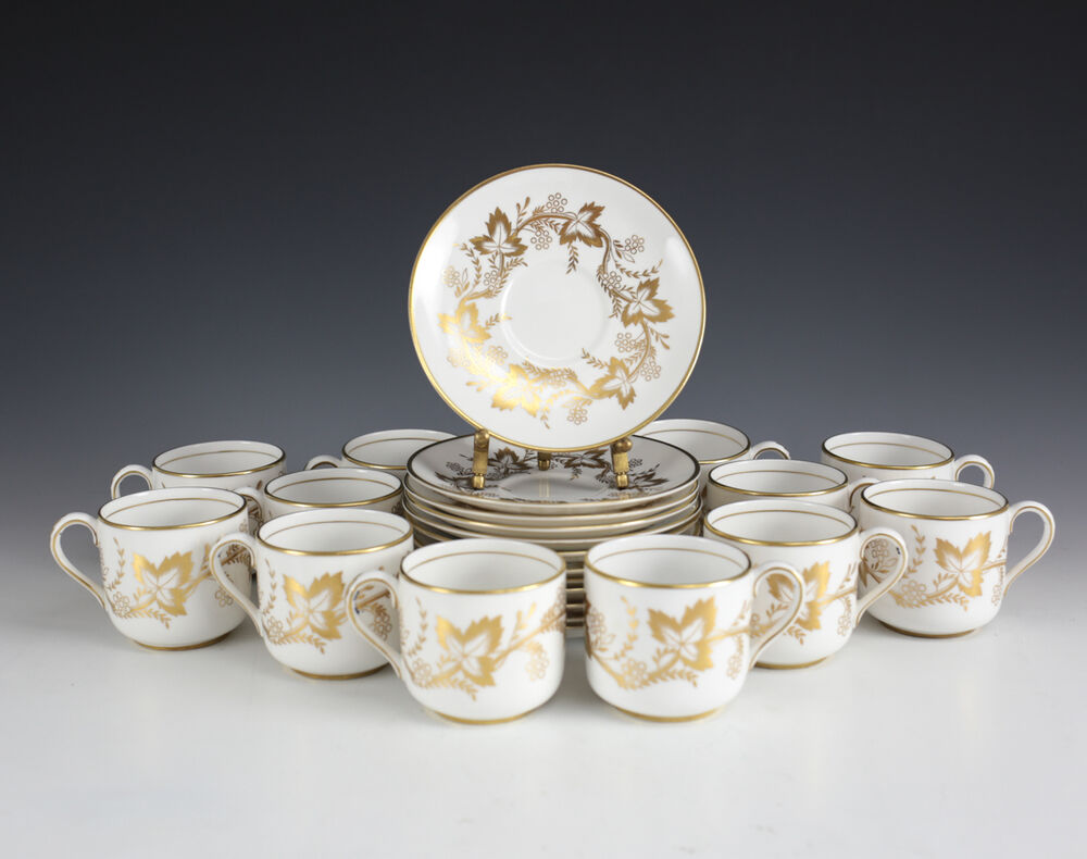 service for 12 grosvenor england bone china demitasse cup saucer tiffany co ebay. Black Bedroom Furniture Sets. Home Design Ideas