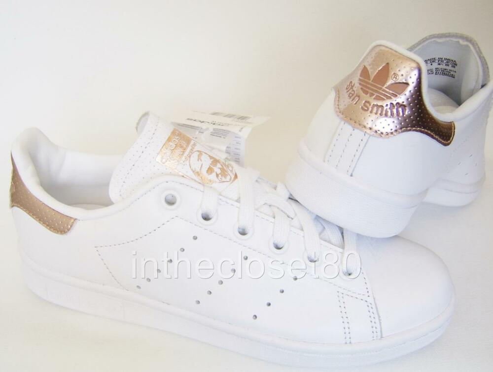 adidas stan smith white rose gold metallic womens girls trainers bb1434 ebay. Black Bedroom Furniture Sets. Home Design Ideas