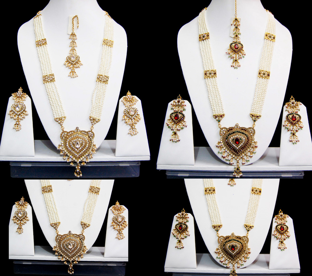 9aa0fab883d Details about Indian Pearl Rani Haar Wedding Costume Jewellery sets Bridal  Pearl Necklace Sets