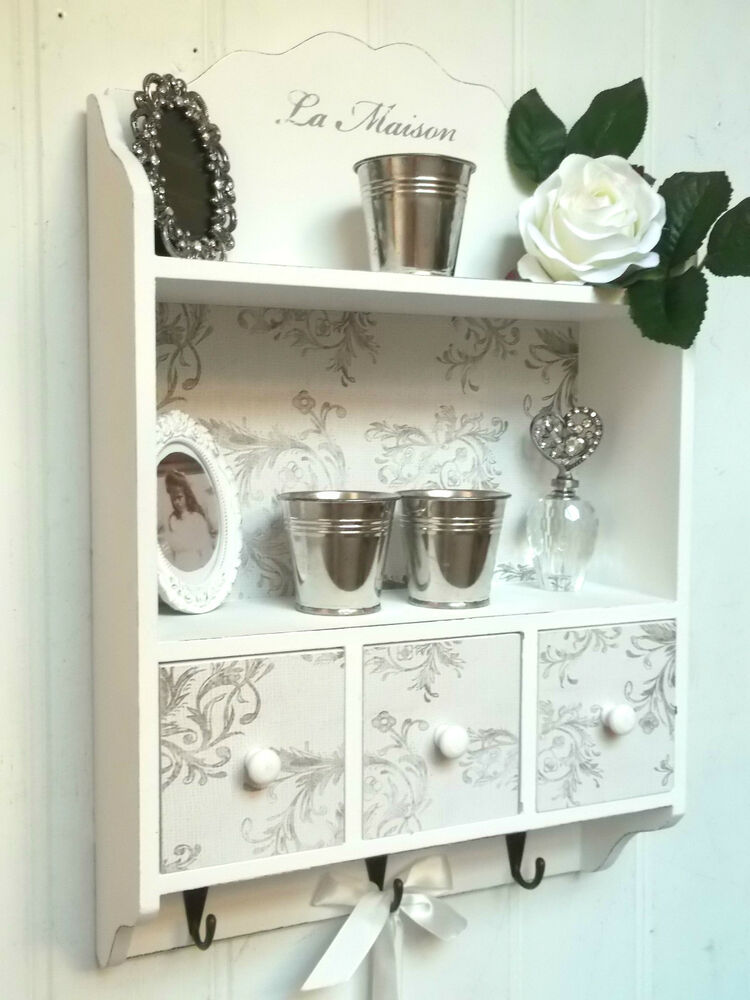 shabby chic wall unit shelf storage cupboard cabinet hooks drawers vintage style ebay. Black Bedroom Furniture Sets. Home Design Ideas