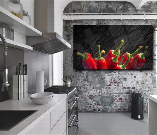 Juicy red pepper canvas art poster print home kitchen wall for Red kitchen wall art