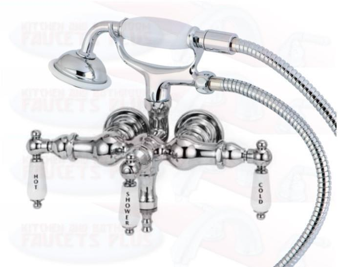 3 3 8 Tub Mount Chrome Clawfoot Bathtub Faucet With Hose