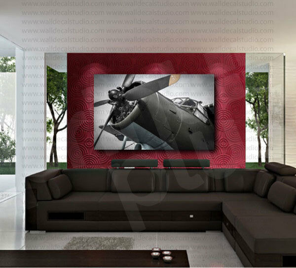 War airplane aircraft propeller canvas art poster print for Airplane cockpit wall mural