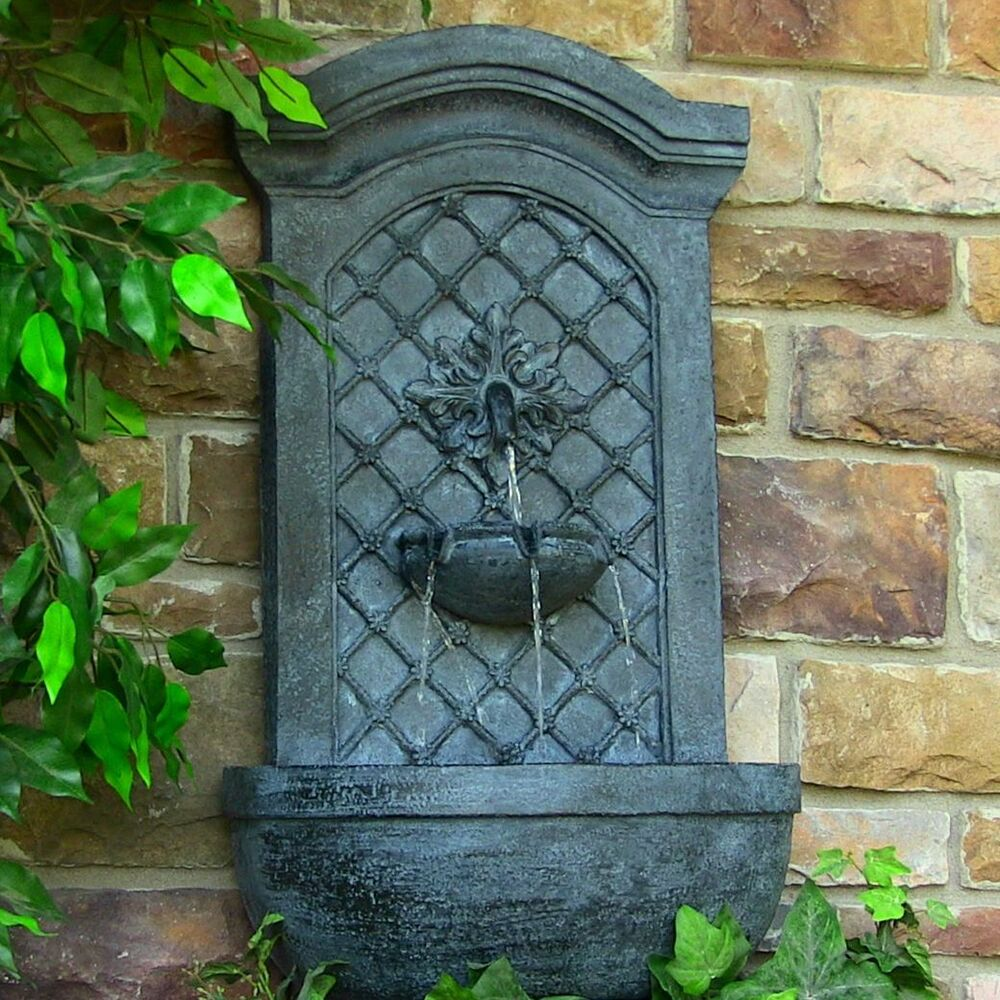 Outdoor wall water fountain rosette leaf garden pond for Outdoor wall fountains