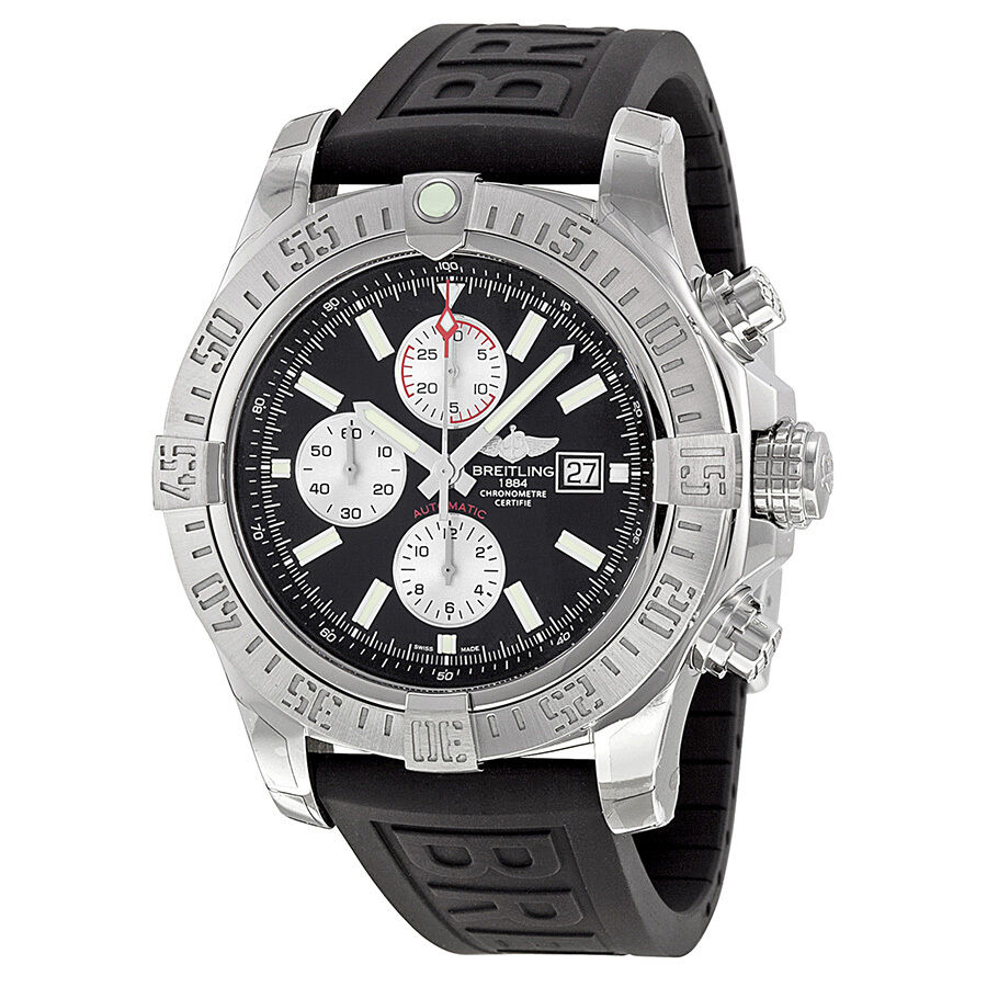Breitling super avenger ii automatic chronograph black rubber strap mens watch ebay for Avengers watches