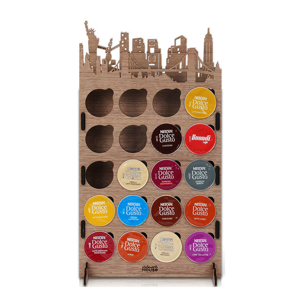 nescafe dolce gusto wood pod coffee city capsule holder paris london newyork ebay. Black Bedroom Furniture Sets. Home Design Ideas