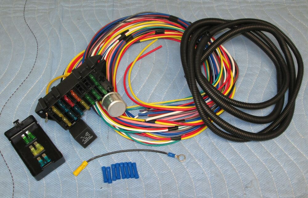 universal truck wiring harness 12 fused wiring harness hot rod street rod universal wire ...