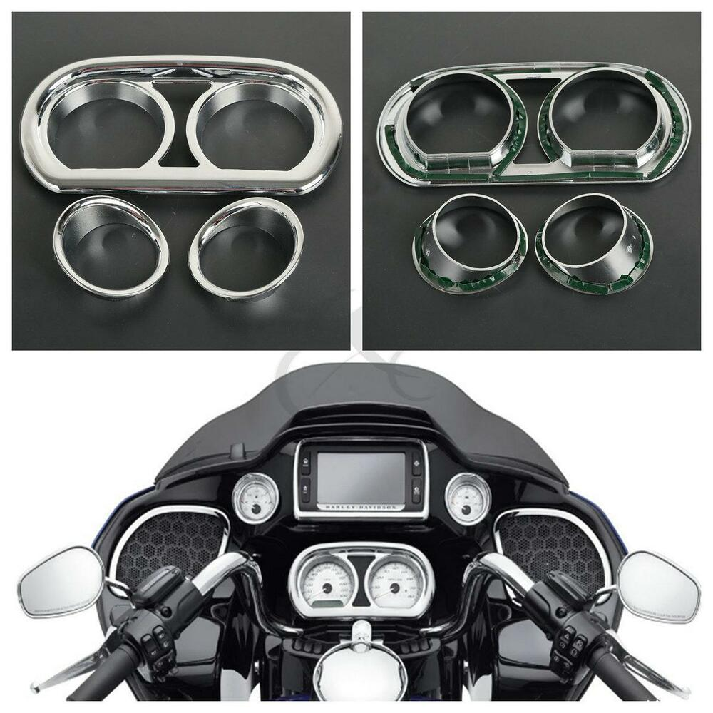 Road Glide Special 2017 >> Chrome Gauge Bezel Trim Kit For Harley Road Glide FLTRX Special FLTRXS 2015-2017 | eBay