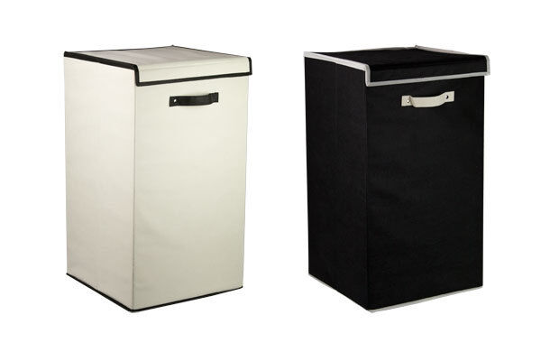 Black Cotton Laundry Bag: Sunbeam NEW Non-woven Laundry Hamper With Lid Black Or