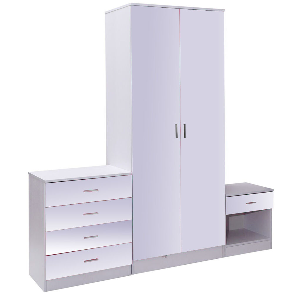 piece high gloss trio bedroom furniture set 2 door wardrobe chest