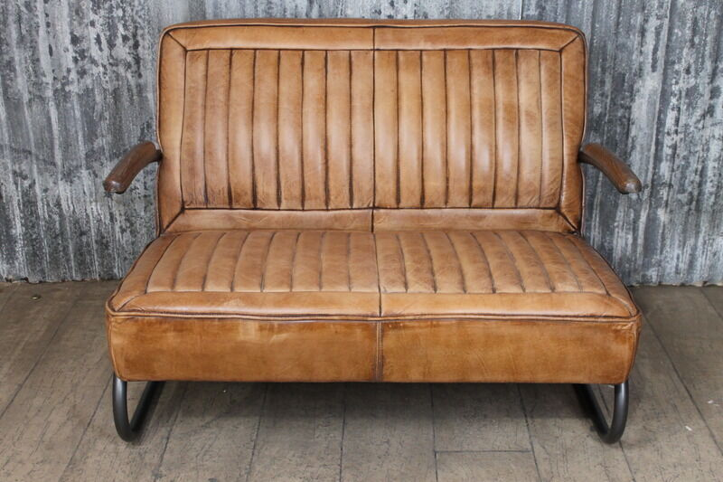 Two Seater Leather Car Seat Style Sofa Vintage Inspired