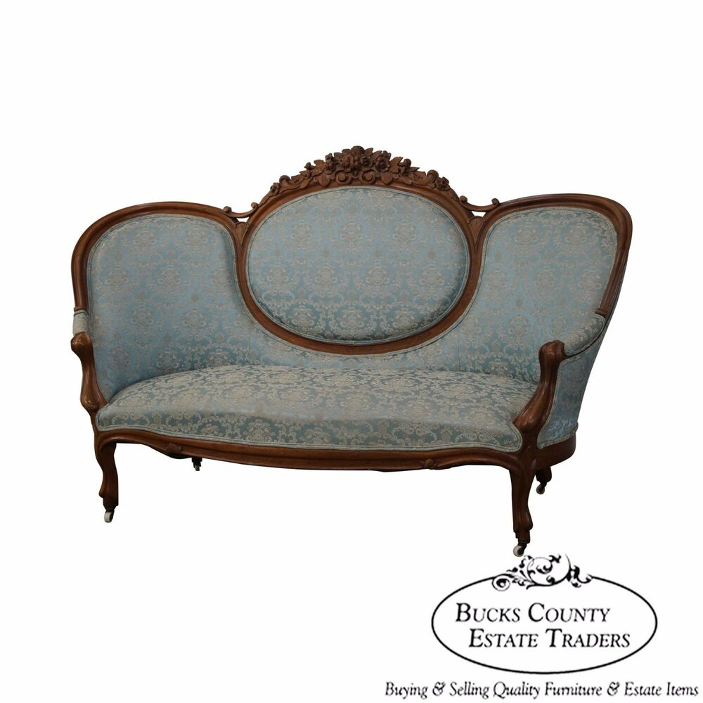 Victorian Couch: Antique Solid Walnut Rose Carved Victorian Sofa