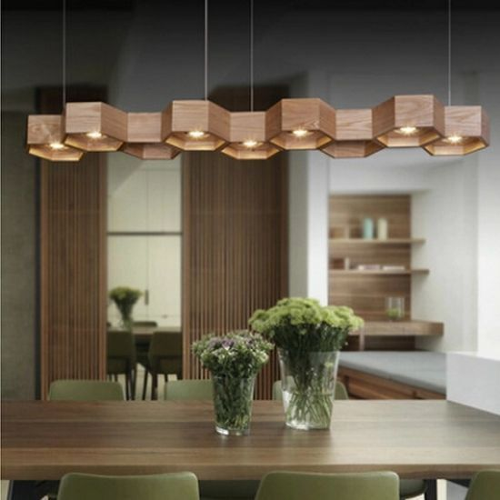 Wood Lighting Fixtures: Modern Wood Light Dining Room Chandelier Bedroom Pendant
