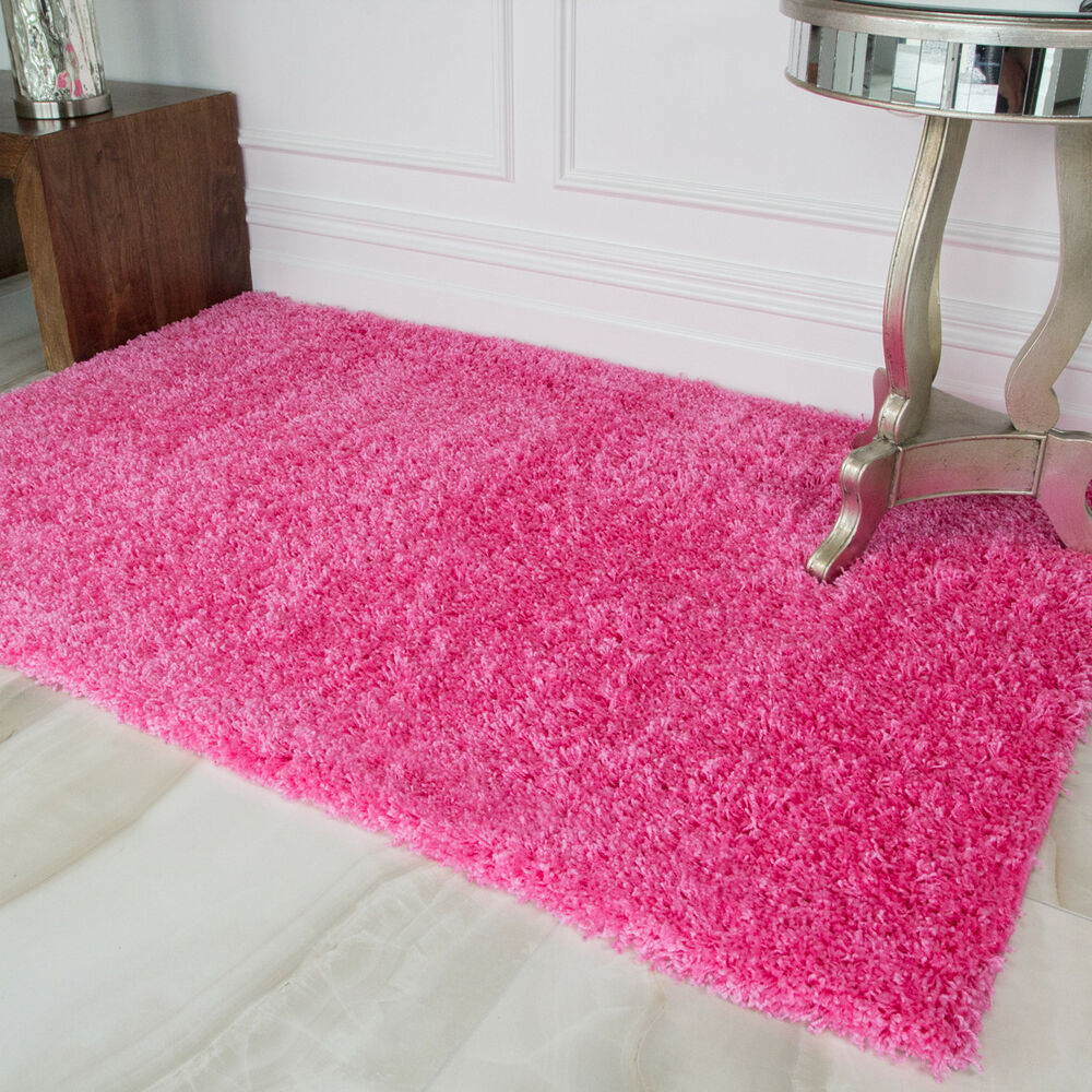 Small Large Pink Shaggy Rugs Easy Clean Soft Kids Bedroom