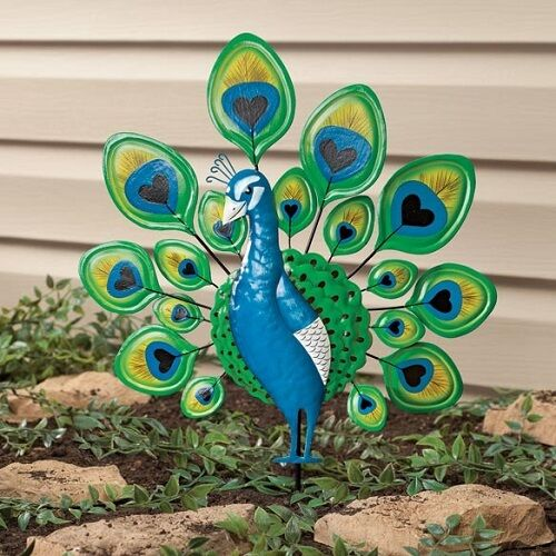 Peacock garden stake decorative metal bird yard art outdoor decor lawn ornament ebay - Outdoor peacock decorations ...