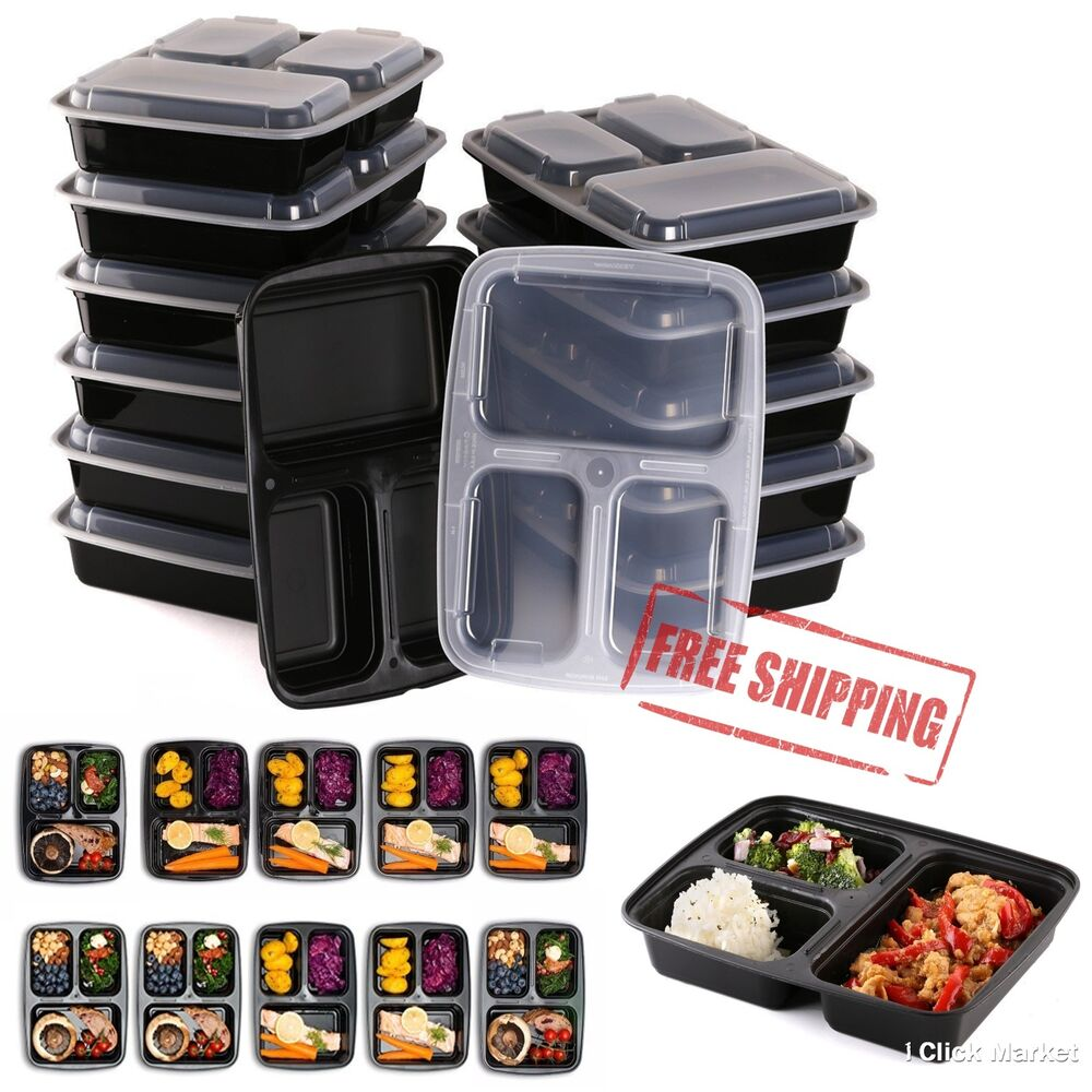 10 meal prep containers plastic food storage reusable 3 compartment lunch box ebay. Black Bedroom Furniture Sets. Home Design Ideas
