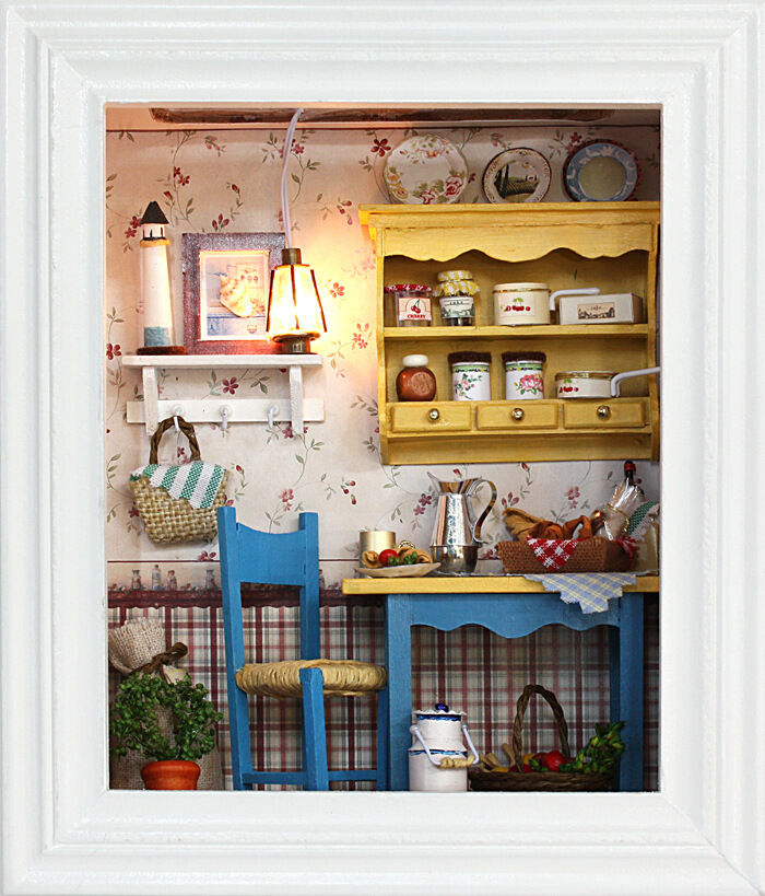 DIY Gift Dollhouse Wooden Miniature Kit Leisurely Lunch