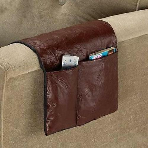 Armrest organizer caddy leather sofa couch remote control for Sofa organizer