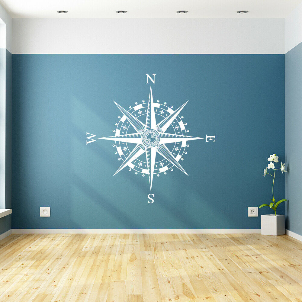 Compass Rose Vinyl Wall Or Ceiling Decal Nautical