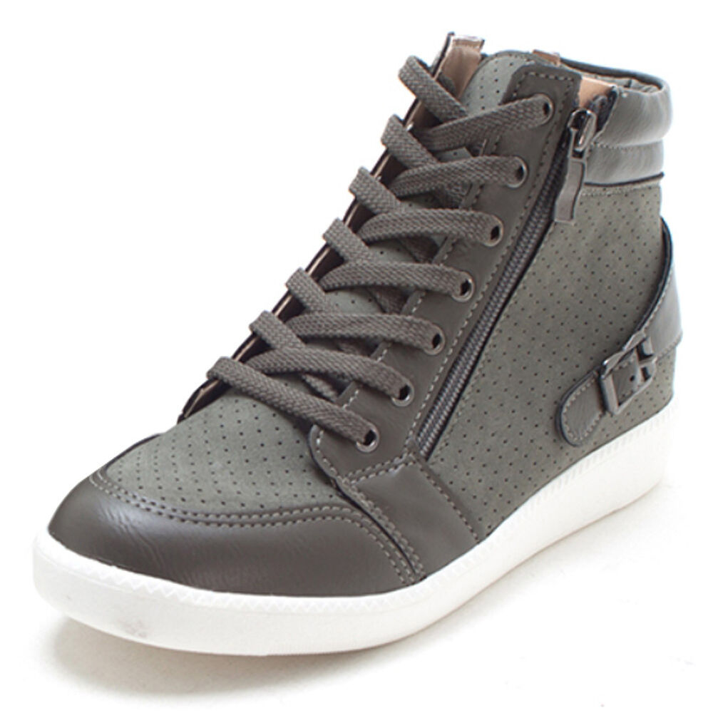 New Women Casual High Tops Hidden Wedges Heel Shoes Zip ...
