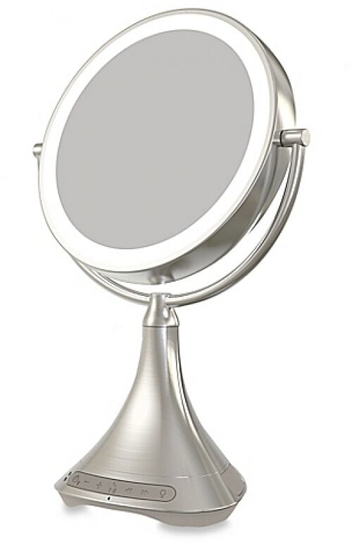 vanity mirror speaker ihome portable bluetooth double sided 9 inch gift new ebay. Black Bedroom Furniture Sets. Home Design Ideas