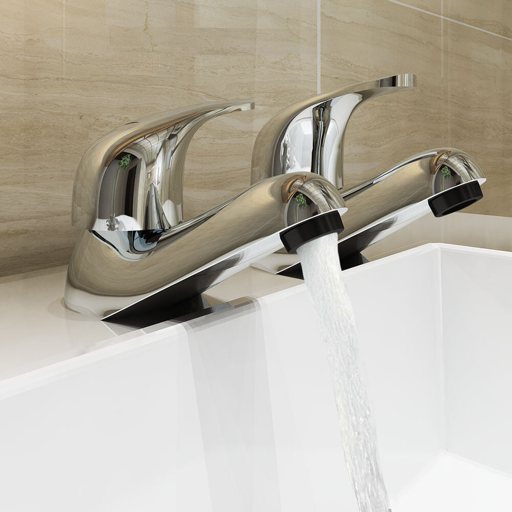 Bathroom Bath Sink Taps Pair Hot And Cold Set Single Lever