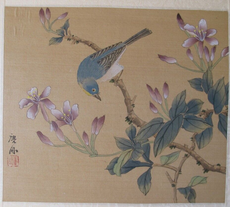 Antique Chinese Scrolls: Antique Asian Chinese Blue Bird In Flowering Tree