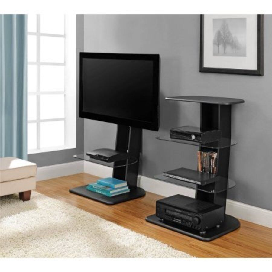 up to 50 flat screen tv mount stand home media entertainment console black ebay. Black Bedroom Furniture Sets. Home Design Ideas