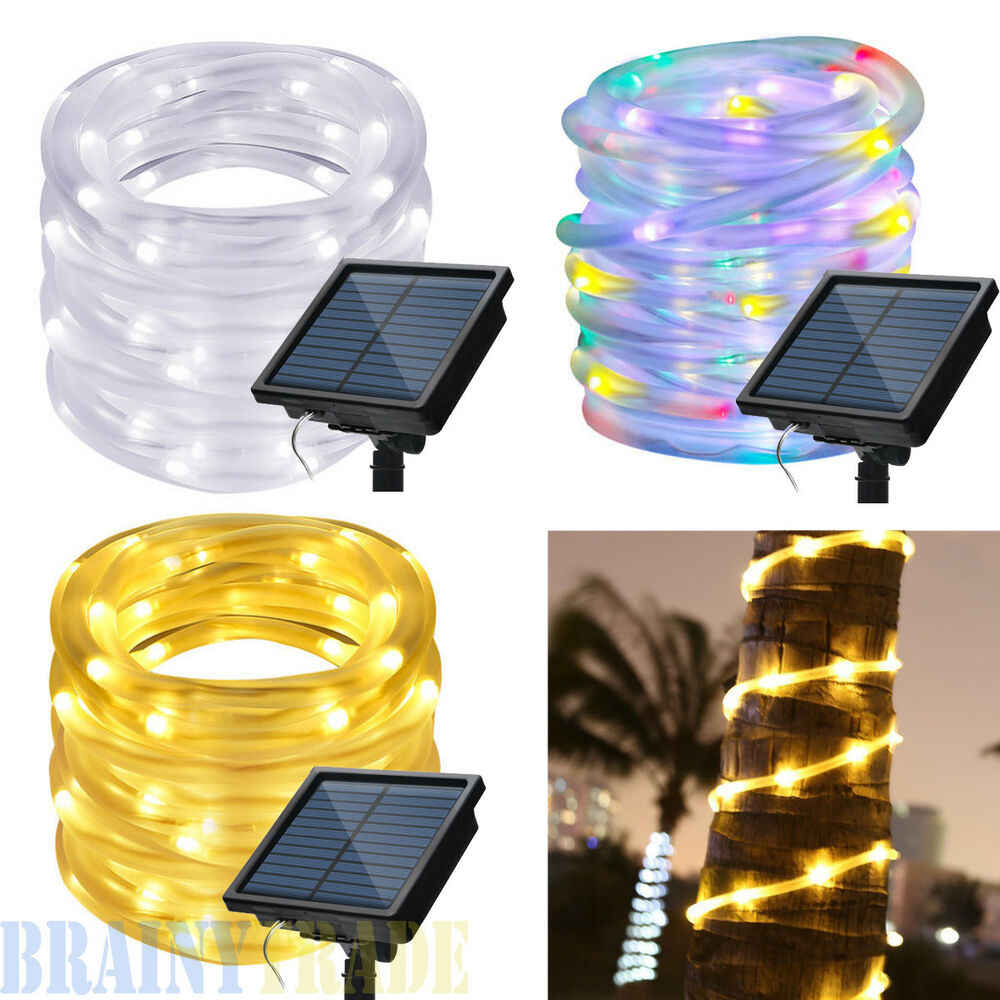 Led Rope Light Tinsel Bauble: 42FT 100 LEDS Solar Powered Waterproof Outdoor LED Rope