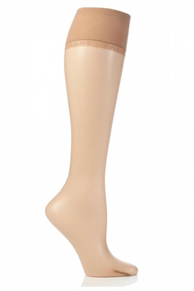 Royaume-UniLadies 1 Pair Falke Shelina 12 Denier Ultra Transparent Knee Highs With Shimmer