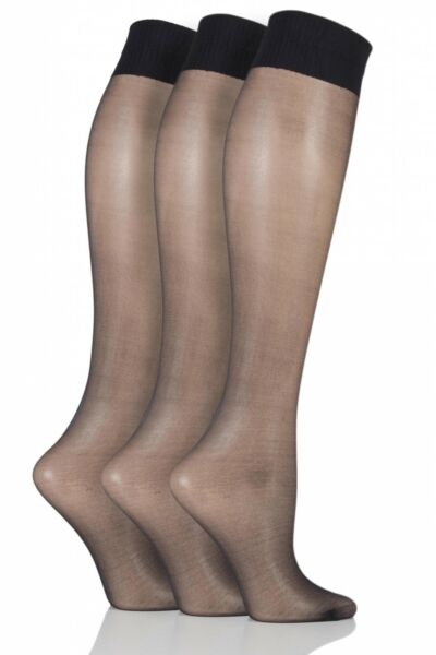 Royaume-UniLadies 3 Pair Aristoc 10 Denier Ultra Shine Knee Highs