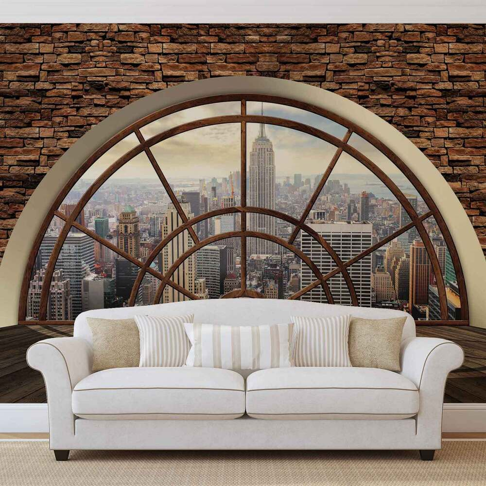 new york city skyline fenster vlies fototapete tapete. Black Bedroom Furniture Sets. Home Design Ideas