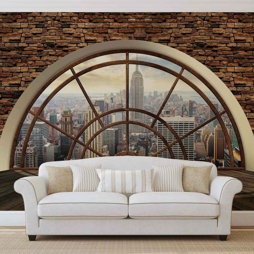 new york city skyline fenster vlies fototapete tapete mural 2397dk ebay. Black Bedroom Furniture Sets. Home Design Ideas