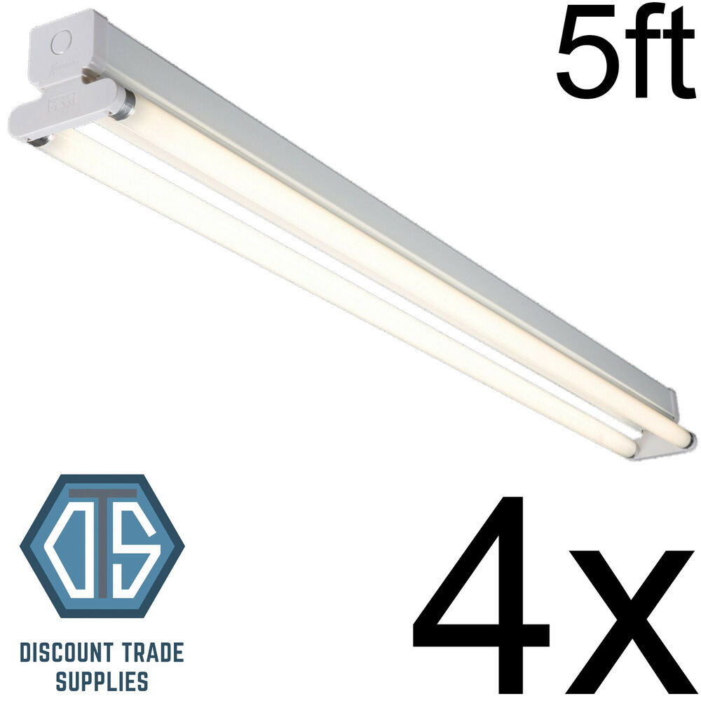 Fluorescent Light Frequency: 4x 5ft Twin T8 Fluorescent Light Fitting T8 High Frequency