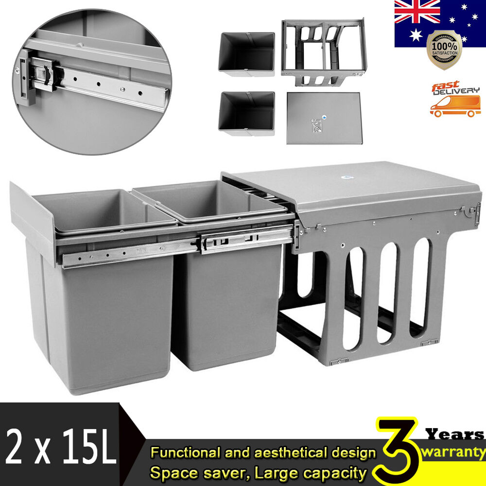 Twin Pull Out Bin Kitchen Slide Double Dual Garbage