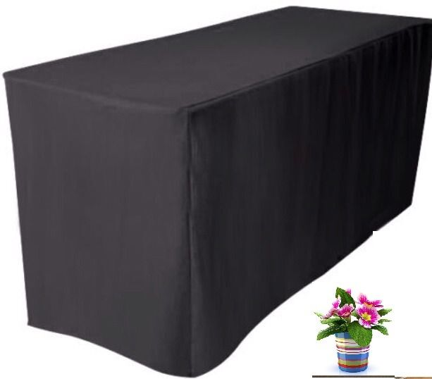 6 39 ft fitted black polyester table cover trade show booth dj tablecloth wedding ebay. Black Bedroom Furniture Sets. Home Design Ideas