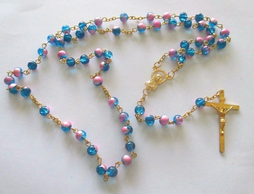 Beautiful Rosary With Blue Pink Beads Golden Tone Metal