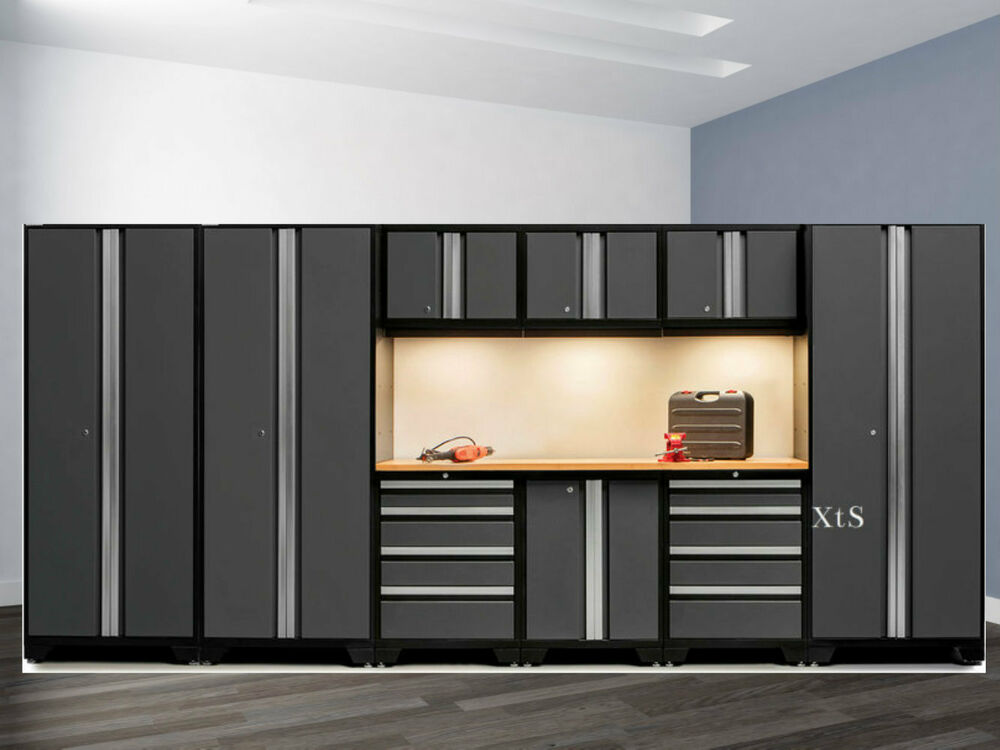 Steel Garage Cabinet Set Storage Shelves Cupboards Work